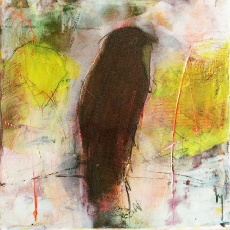 Original artwork by Barbara Downs, Small Bird Study Number 12, Encaustic/Oil/Photo on Panel