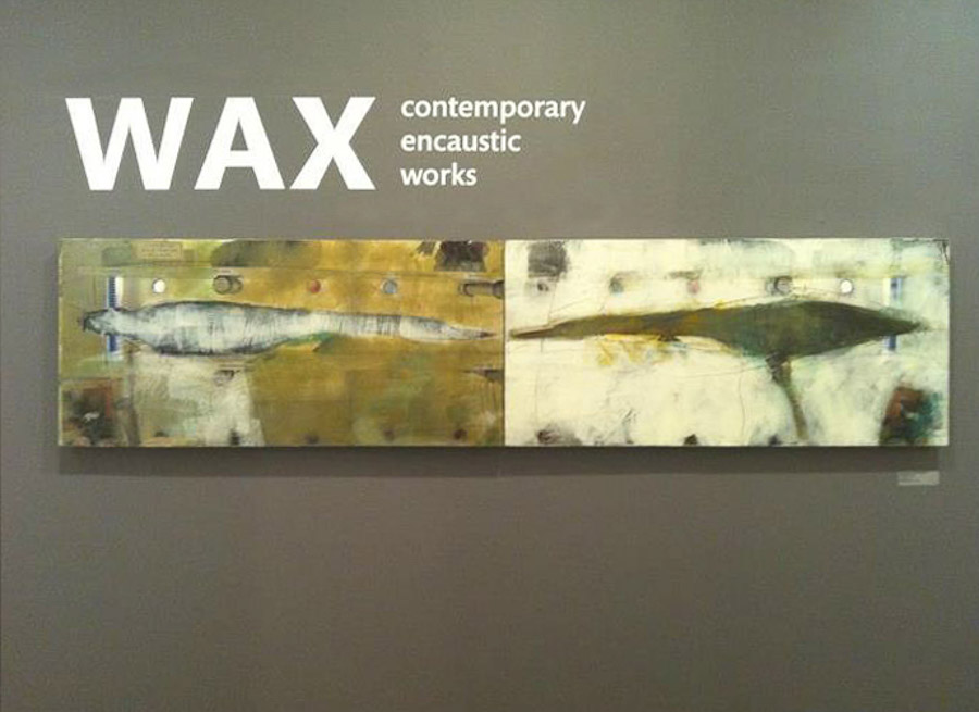 original artwork by Barbara Downs hanging in the exhibition Wax
