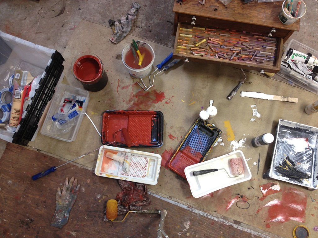 Barbara Downs, photo of studio floor showing painting supplies