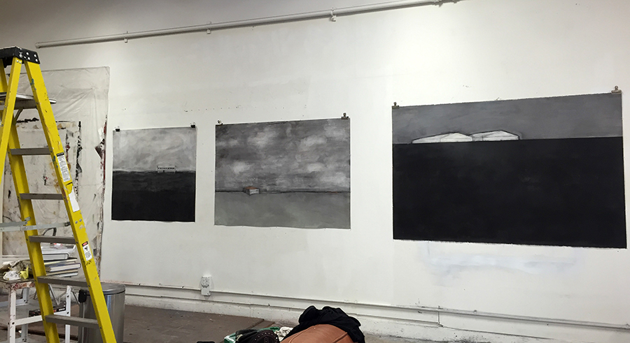 Original artwork by Barbara Downs, studio photograph with drawings on wall
