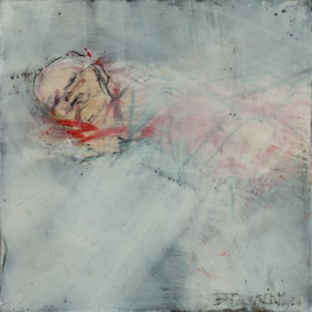 Original artwork by Barbara Downs, In Memory of Childhood #2, Encaustic/Oil on Panel