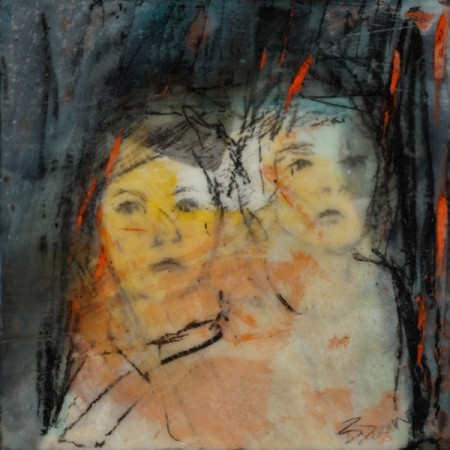 Original artwork by Barbara Downs, In Memory of Childhood #8, Encaustic/Oil on Panel