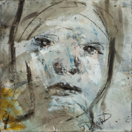 Original artwork by Barbara Downs, In Memory of Childhood #11, Encaustic/Oil on Panel