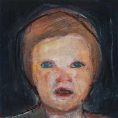 Original artwork by Barbara Downs, Child Painting (III), Oil/Mixed-Media on Panel