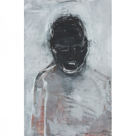 Original artwork by Barbara Downs, Seated Man (Tom), Mixed Media on Paper (Charcoal, Chalk, Acrylic Paint)