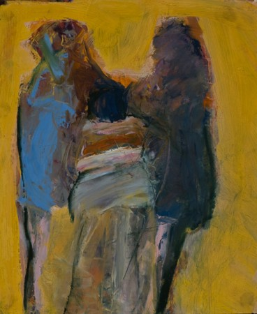 Original artwork by Barbara Downs, Three Figures, Oil on Paper