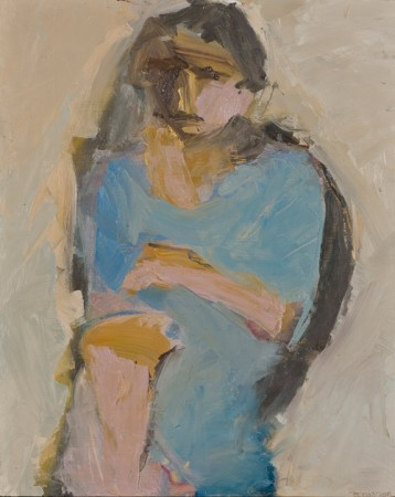 Original artwork by Barbara Downs, Seated Woman (I), Oil on Panel
