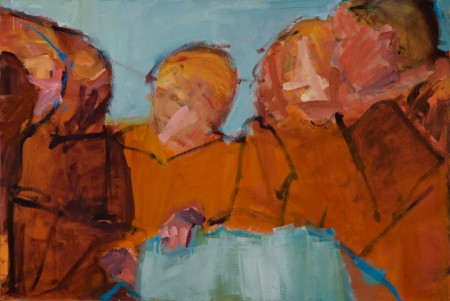 Original artwork by Barbara Downs, A Conversation, Of Sorts, Oil on Canvas