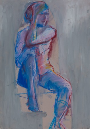 Original artwork by Barbara Downs, Untitled Drawing (Seated Woman), Chalk Pastel/Acrylic on Paper
