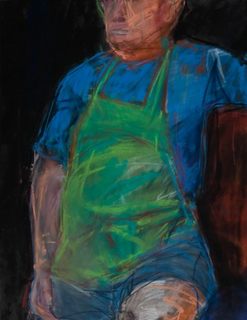 Original artwork by Barbara Downs, Untitled Drawing (Tom with Apron), Chalk Pastel on Paper