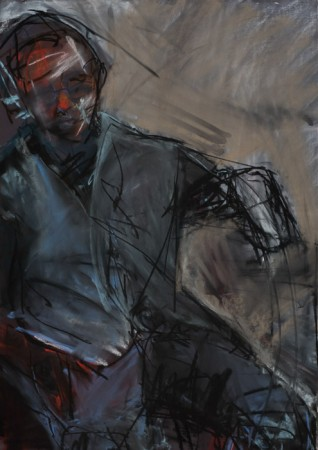Original artwork by Barbara Downs, Untitled Drawing (Tom Seated), Chalk Pastel on Paper