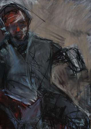 Original artwork by Barbara Downs, Untitled Drawing (Tom Seated), 2010
