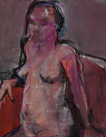 Original artwork by Barbara Downs, Untitled Drawing (Seated, Rose), Chalk Pastel on Paper