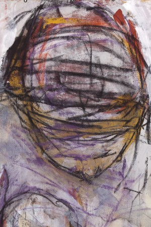 Original artwork by Barbara Downs, detail of The Muse, Acrylic/Mixed-Media on Unstretched Canvas