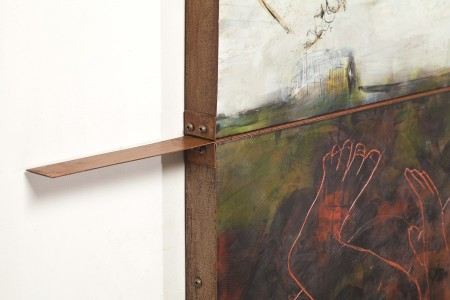 Original artwork by Barbara Downs, detail of Iceland/Ísland (II), Encaustic/Oil on Panel with Rust-Patina Steel Frame