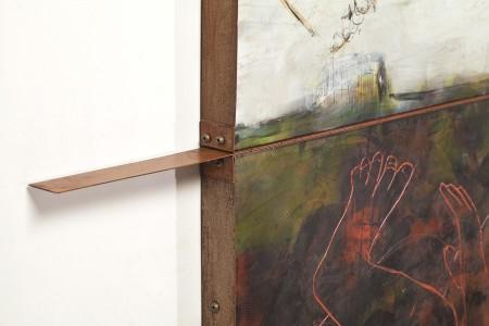 Original artwork by Barbara Downs, detail of Iceland/Ísland (II), Encaustic/Oil on Panel with Rust-Patina Steel Frame
