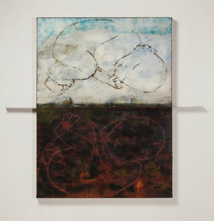 Original artwork by Barbara Downs, Iceland/Ísland (II), Encaustic/Oil on Panel with Rust-Patina Steel Frame