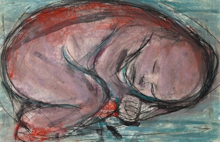 Original artwork by Barbara Downs, Curled Baby (I), Mixed Media on Paper