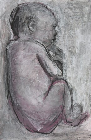Original artwork by Barbara Downs, Curled Baby (II), Mixed Media on Paper