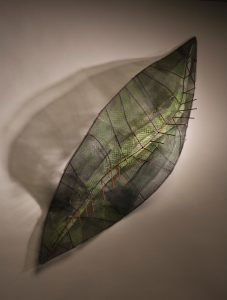 "An Inviting Leaf, Painted Steel and Wire Mesh, 60"" x 60"" x 36"", 2009"