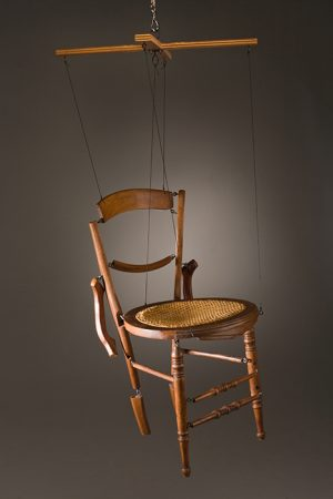 Original artwork by Barbara Downs, Chairionette, Repurposed Chair, disassembled and articulated