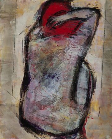 Original artwork by Barbara Downs, Curled Figure #2, Encaustic/Oil on Panel