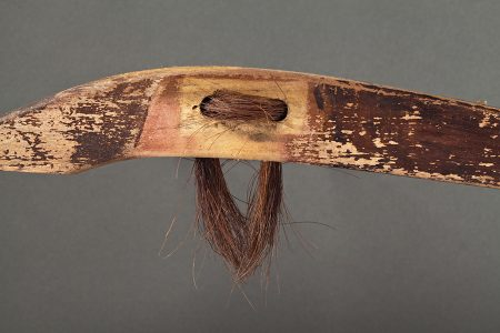 Original artwork by Barbara Downs, detail of Duck Disguise, Repurposed Chair Leg, Horsehair, Steel
