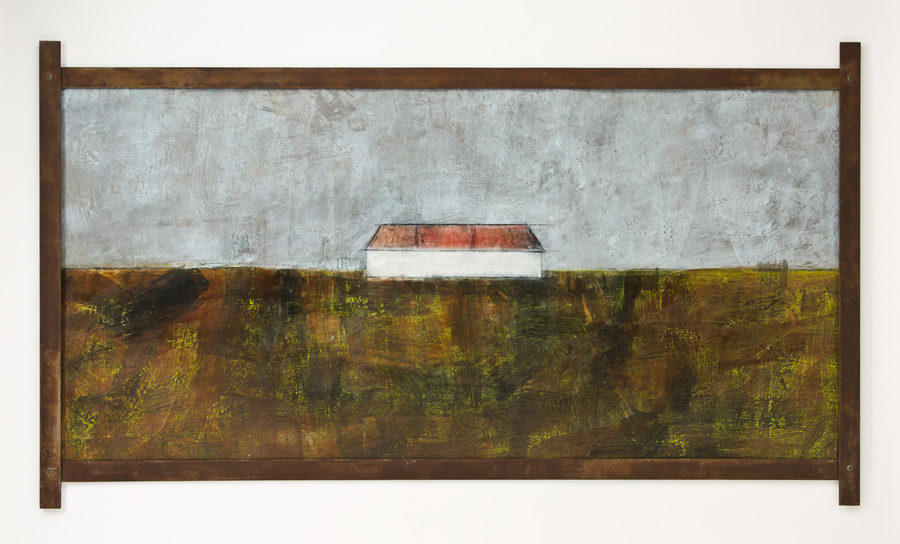 Original artwork by Barbara Downs, Talisman (IX), Encaustic on Paper with Steel Frame