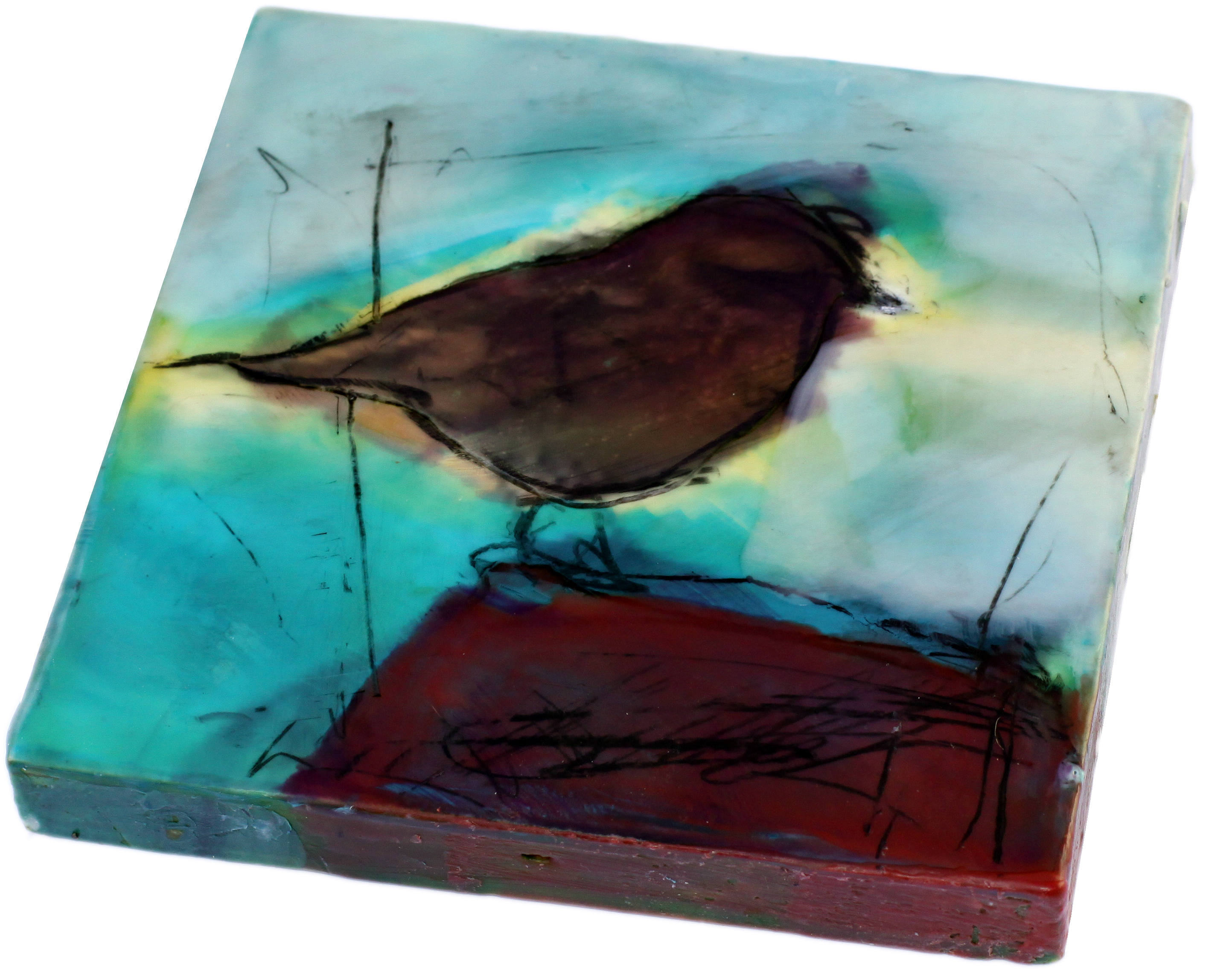 Original artwork by Barbara Downs, The Daily Bird, Encaustic/Oil/Photo on Panel
