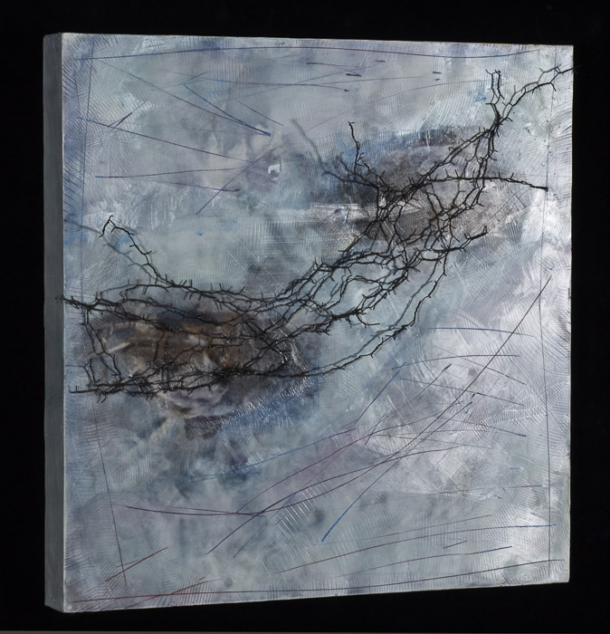 Original artwork by Barbara Downs, detail of Precious in the Brambles, Encaustic/Oil/Photo/Barbed Wire on Panel