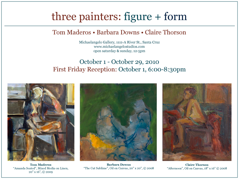 Barbara Downs announcement for Three Painters: Figure + Form exhibition