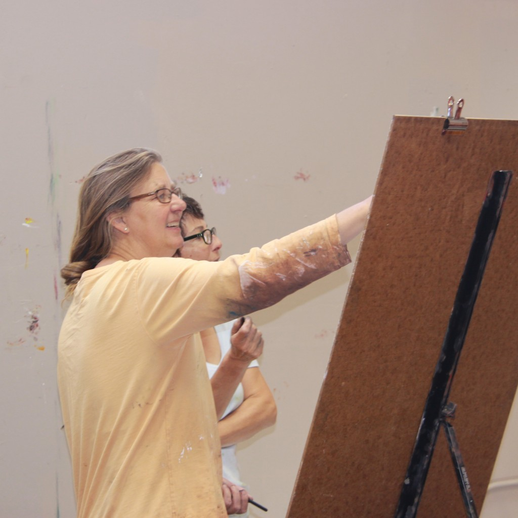 Barbara Downs and Claire Thorson drawing together