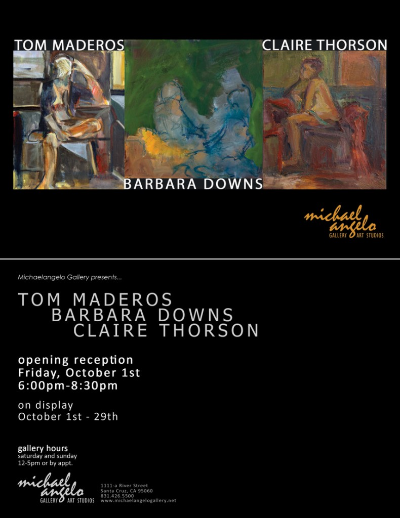 Barbara Downs announcement for Three Painters: Figure Plus Form exhibition