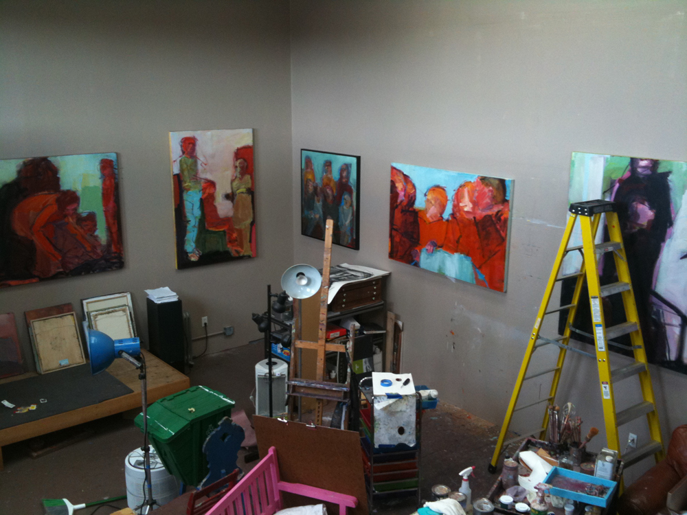 The studio of Barbara Downs prepared for Open Studios
