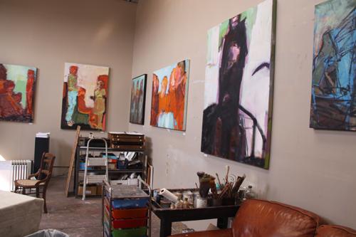 The studio of Barbara Downs during Open Studios