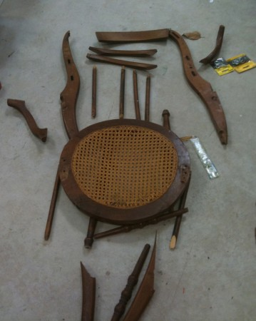 Barbara Downs disassembled chair for chair sculpture