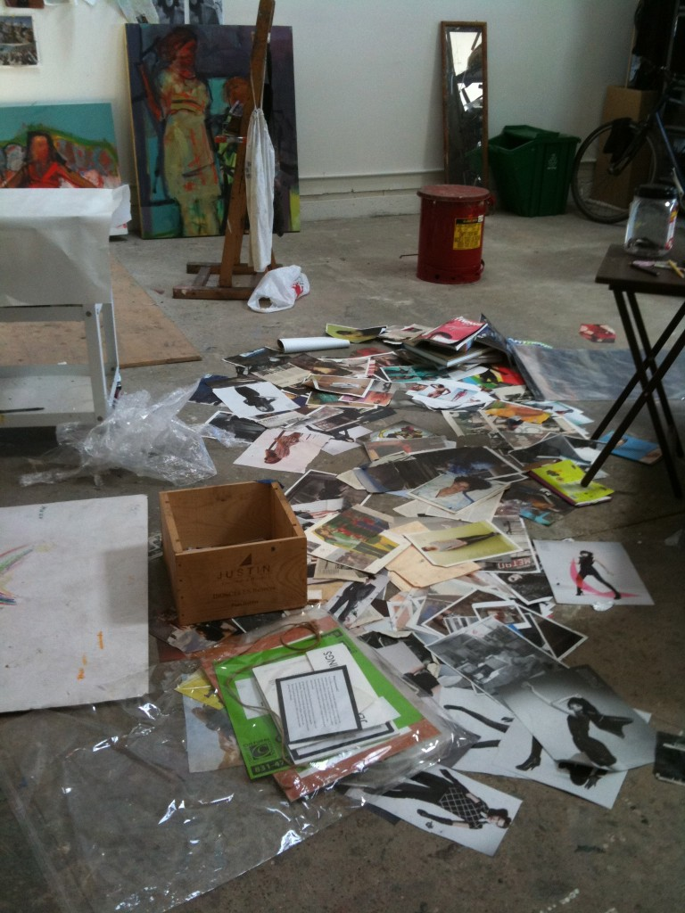 Barbara Downs--her studio floor with a mess of photographs