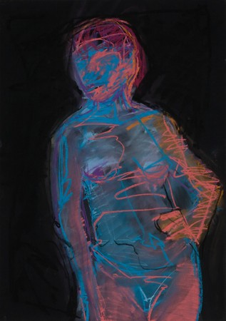 Original artwork by Barbara Downs, Untitled Drawing (Neon Standing Nude), Chalk Pastel on Paper