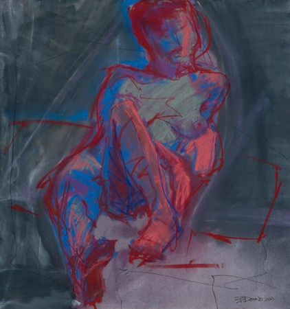 Original artwork by Barbara Downs, Untitled Drawing (Neon Reclining Nude), Chalk Pastel on Paper