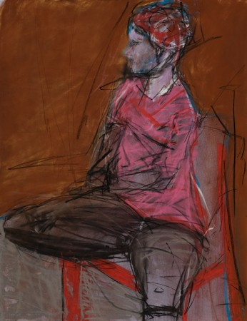 Original artwork by Barbara Downs, Untitled Drawing (Pink Hat), Chalk Pastel on Paper