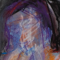 Original artwork by Barbara Downs, detail of Untitled Drawing (Standing Woman), Chalk Pastel on Paper