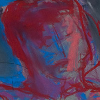 Original artwork by Barbara Downs, detail of Untitled Drawing (Neon Reclining Nude), Chalk Pastel on Paper