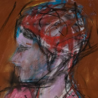 Original artwork by Barbara Downs, detail of Untitled Drawing (Pink Hat), Chalk Pastel on Paper