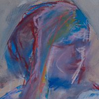 Original artwork by Barbara Downs, detail of Untitled Drawing (Seated Woman), Chalk Pastel/Acrylic on Paper