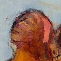 Original artwork by Barbara Downs, detail of Waiting for the Other Shoe to Drop, Oil on Canvas