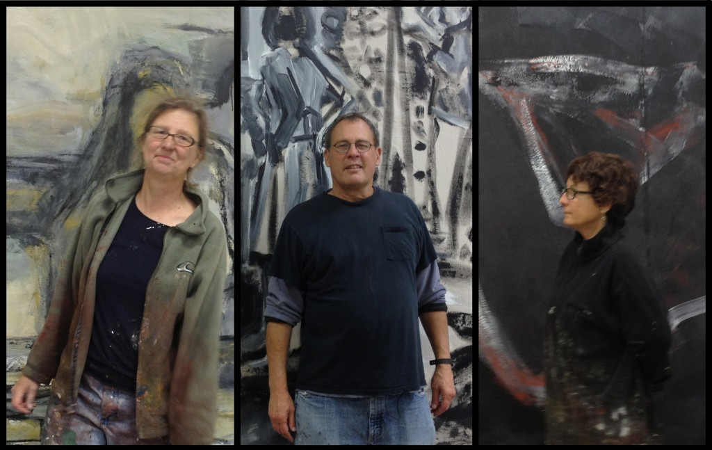 Claire Thorson, Tom Maderos and Barbara Downs in front of their paintings