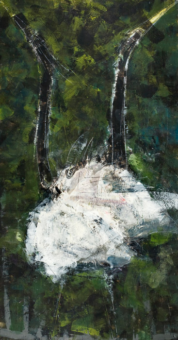 "Heron Display, Encaustic on Panel, 76"" x 40"", 2012, Private Collection"