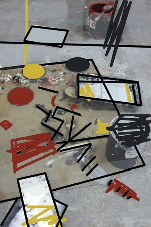 Barbara Downs' studio floor with a mess of painting supplies, with drawing overlay