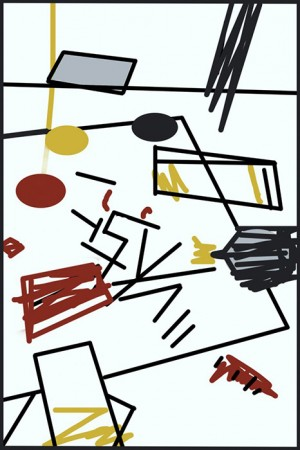 Barbara Downs' abstract drawing of studio floor mess
