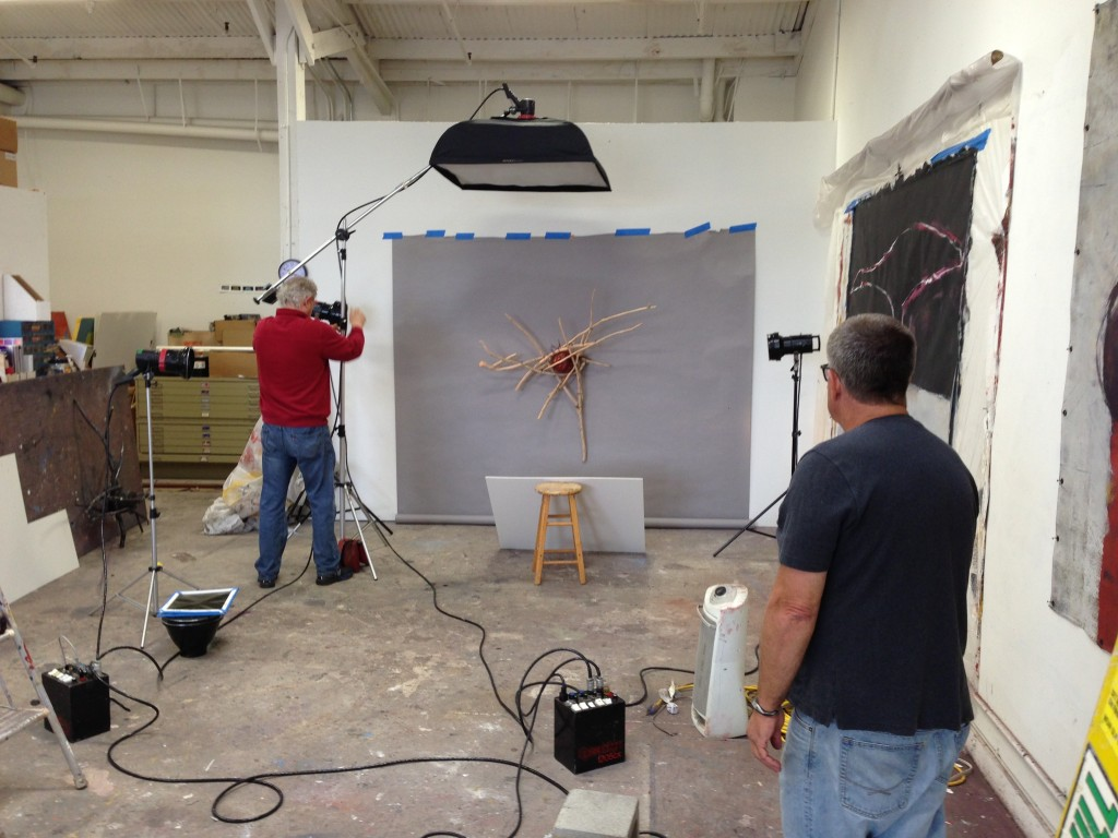 R.R. Jones photographing the work of Jamie Abbott in the studio of Barbara Downs